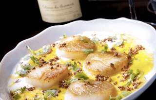 Scallops and wine.