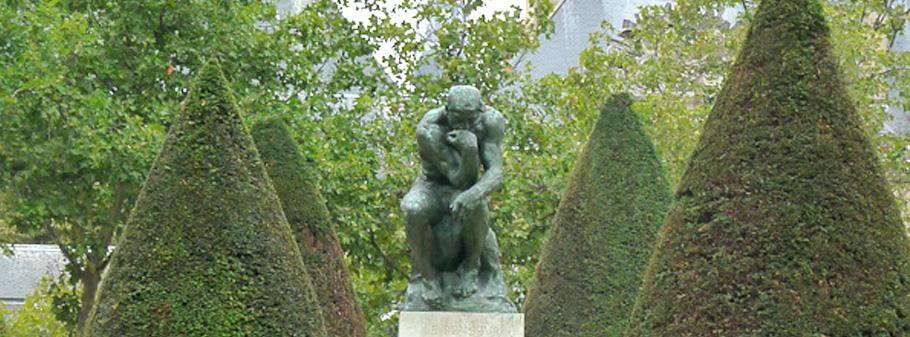 Thinking man statue.