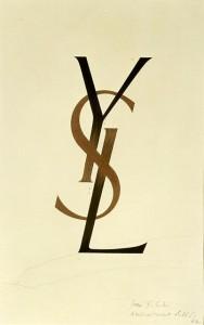 YSL original, hand-lettered logo.