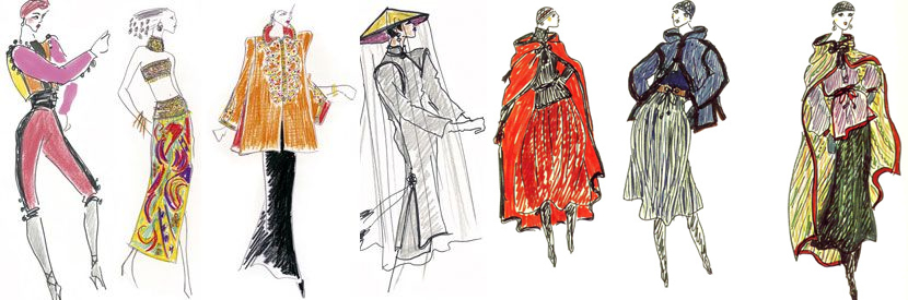 Sketches of Yves Saint Laurent.