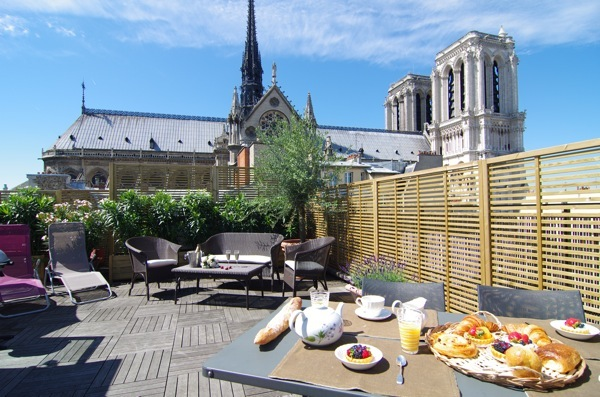 Stunning rooftop terrace view of Notre Dam