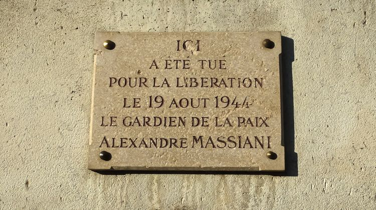 WWII Paris resistance memorial to Alexandre Massiani.
