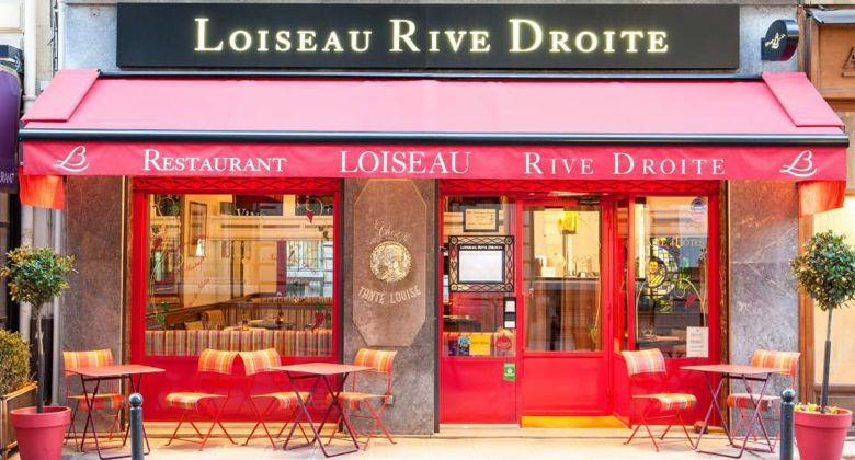 Facade of Loiseau Rive Droite, Paris restaurant renowned for fine French cuisine.