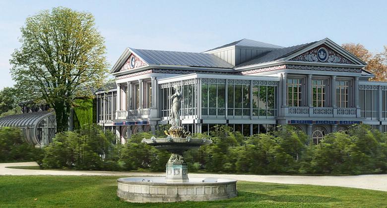 Exterior facade and gardens of The Pavillon Gabriel, 5 Avenue Gabriel, 75008 Paris