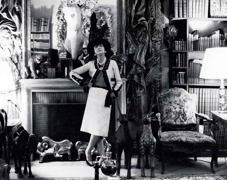 Coco Chanel in her apartment at 31 rue Cambon, Paris, France.